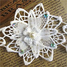 10pcs Flower with Rhinestone Pearl Beads Voile
