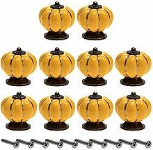 10Pcs Knob Door Handles Pulls Ceramic Pumpkin