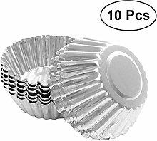 10Pcs Nonstick Ripple Aluminum Alloy Egg Pie Shape