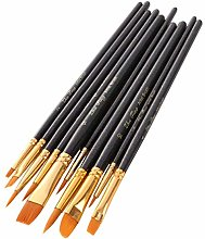 10Pcs Wooden Paint Brush Drawing Tool Set for