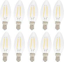 10x 2W E14 C35 LED Filament Bulb Equivalent to 15