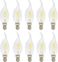 10x 2W E14 C35 LED Filament Bulb Flame Tip