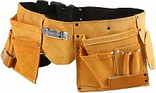 11 Pocket Genuine Tan Leather Tool Belt with