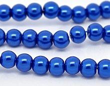 110 Navy Blue Glass Imitation Pearl 8mm Round