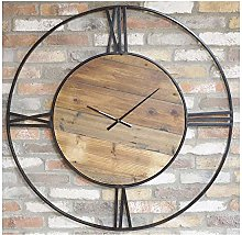 110cm Large Black Metal & Wood Skeleton Edge Clock