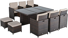 11pc Rattan Garden Furniture Outdoor Dining Set