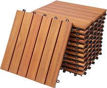 11x Wooden Decking Tiles 1m³ Interlocking Terrace