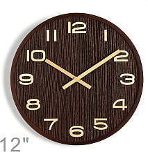 12'' Wooden Decorative Wall Clock with
