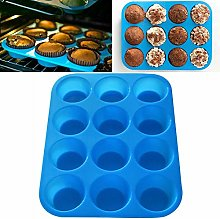 12-Cup Silicone Muffin Pan, Cupcake Muffins Tin,