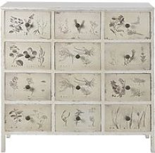 12-Drawer Storage Cabinet with Ivory Floral Print