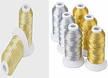 12 Gold, Light Gold & Silver Metallic Embroidery