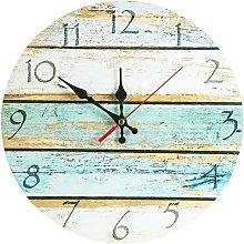 12 Inch Silent Vintage Design Wooden Round Wall
