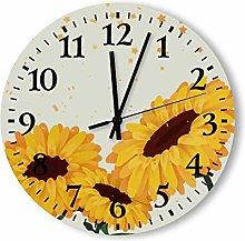 12 Inch Wood Clock Decorative Round Large Numerals