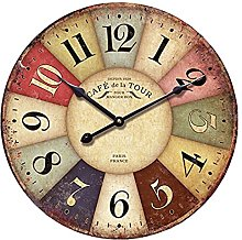 12-inch Wooden Clock, Eruner Vintage Wood Wall