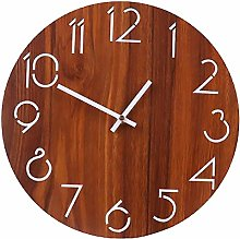 12 Inch Wooden Round Wall Clock Rustic Country