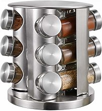 12-Jar Revolving Countertop Spice Rack Organizer,