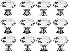 12 PCS 40MM Colorless Crystal Glass Diamond Shape