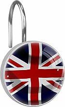 12 Pcs Shower Curtain Hooks Rings Union Jack