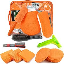12-piece car cleaning set, interior and exterior,