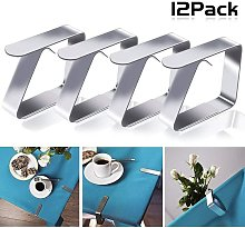 12 tablecloth clips made of stainless steel,