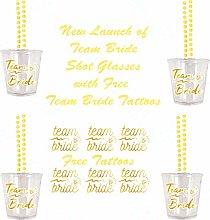 12 Team Bride Hen Shot Glasses with 12 Free Team