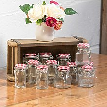 12 x Mini 90ml Assorted Square & Round Glass Spice