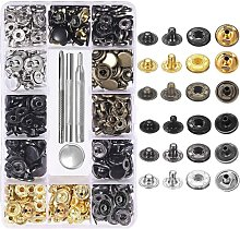 120 Set Leather Snap Fasteners Kit 6 Color Metal