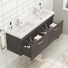 1200mm Wall Hung Bathroom Vanity Unit Double Basin
