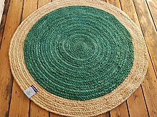 120x120cm Round Circular Teal with Beige Natural