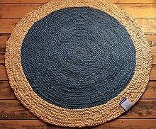 120x120cm Teal Blue Jute Scandi style circular
