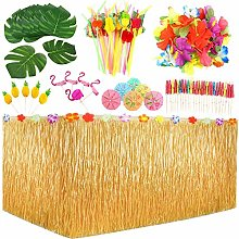 123 Pcs Hawaiian Luau Table Skirt Set, Palm