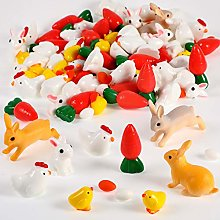 124 Pieces Easter Miniature Decorations Bunny Fake