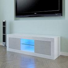 125cm LED TV Cabinet Unit Two Door White Gray