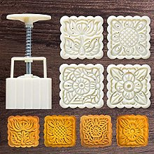 125g Mooncake Mould with 4pcs Square Flower Stamps