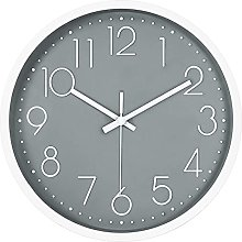12in Non-Ticking Wall Clock, JUSTUP Silent Battery