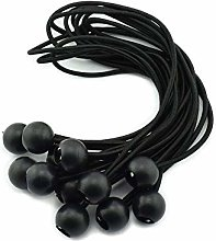 12pcs 6 Inches 15cm Ball Bungee Cords Black