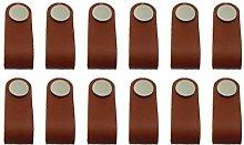 12pcs Cabinet Handles Handmade Leather Dresser