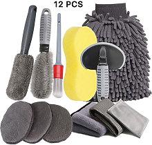 12PCS Car Cleaning Kit, Professional Microfiber