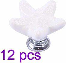 12pcs Ceramic Cabinet Pulls Starfish Shaped Pull