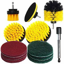 12Pcs Electric Drill Brush Kit Plastic Round