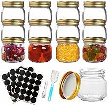 12PCS Jam Jars, 9oz Glass Jar with Lids, Sealed