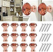 12Pcs Luxury Diamond Crystal Door Knob Cabinet
