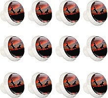 12pcs Round Crystal Glass Cabinet Knobs Sunset
