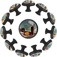 12PCS White Drawer Knobs London Big Ben Clock