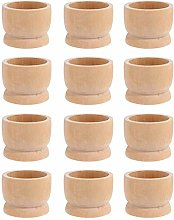 12pcs Wooden Egg Cups, Boiled Egg Holder, Easter