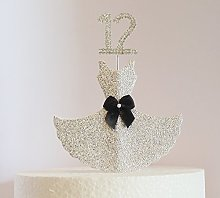 12th Birthday Cake Decoration. Silver Dress with