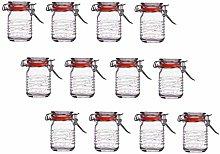 12x Mini Clip Top Airtight Seal Food Spice Storage