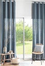 130x300cm single navy blue washed linen curtain