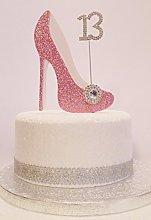 13th Birthday Cake Decoration Pink & White Shoe