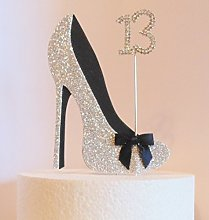 13th Birthday Cake Decoration Silver and Black